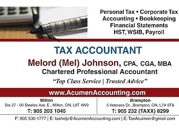 Milton accounting firm Melord Johnson, CPA - Chartered Professional Accountant