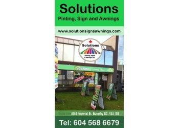 Burnaby sign company Solutions Printing, Signs and Awnings ltd