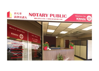 Richmond notary public Warren Liu Notary Corporation